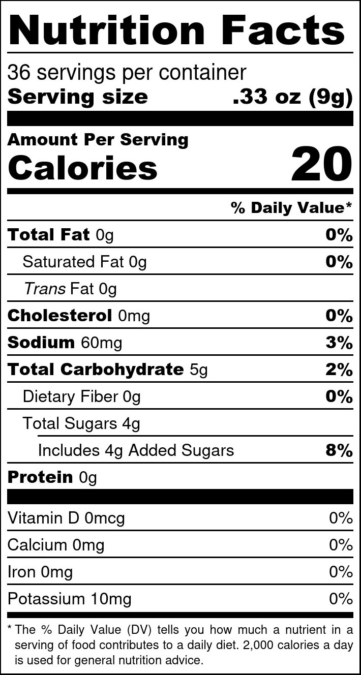 Sweet Georgia Red Relish Nutrition Facts