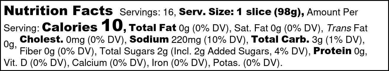 Angry Cukes Nutrition Facts